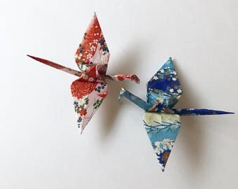 2 Fabric Paper Cranes (blue/red)