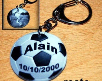 Name and photo Keychain shape soccer ball