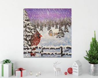 Christmas Home Decoration Handmade, Christmas Decor Gift, Winter Bird Wall Art, Best Holiday Gift, Ready to hang, Unique Snow Painting Art
