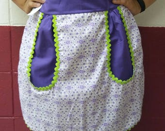 "Adult ""June"" Cotton Half Apron One of a Kind Purple"