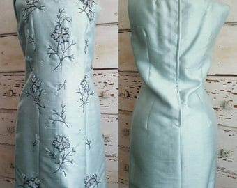 SUMMER SALE Gino Rossi Boutique 1950's Jackie O Embroidered Beaded Italian Raw Silk Aquamarine Dress with Matching Coat from Joseph Horne Co