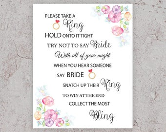Don't Say Bride Game, Bridal Shower Games, Take a Ring Game, Pink Bridal Shower,Bridal Shower Activity, Printable Bridal Games, J010