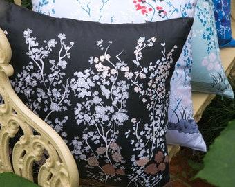 Black Chinoiserie Throw Pillow