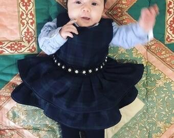 Wool dress, girl's dress, baby dress, plaid dress, elegant dress, tartan dress, formal dress