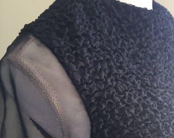 Eve Le Coq women's size small vtg ruffled 1980s black dress