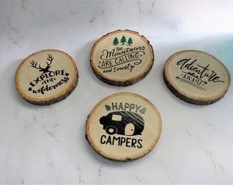 Outdoor Adventure Wooden Coaster Set