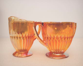 Vintage Jeanette Anniversary Iridescent Marigold Sugar Bowl and Creamer