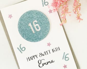 Sweet 16th Birthday Card, Sweet 16, Birthday Gift, Sweet 16 Gift Ideas, Sweet 16 Girl, Birthday Card, Teenage Girl Gift, Happy Sweet 16th