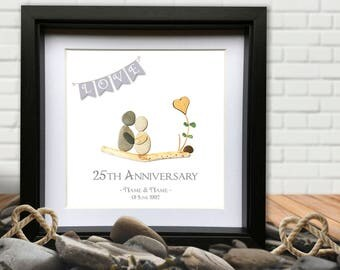 Wedding Anniversary Personalised Gift - Pebble & Sea Glass Picture art. Any Year and colour available.