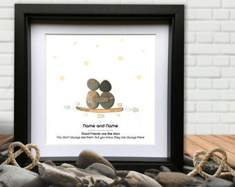 Good Friends Personalised Pebble Gift. Good Friends are like Stars -Personalised pebble and Sea Glass Picture.
