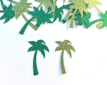 Palm Tree Confetti - palm tree - Confetti - scatters - tropical - summer - green - glitter - scatters - Summer - luau - kelly green