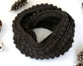 CROCHET PATTERN / chunky bobble infinity scarf crochet pattern / winter scarf pdf pattern / bobble stitch / begginer crochet pattern