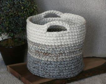 CROCHET PATTERN / farmhouse ombre basket crochet pattern / basket with handles / chunky basket pattern / pdf pattern / easy crochet pattern