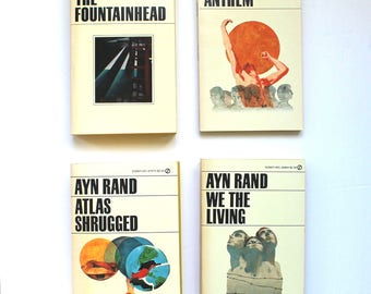 1960's Ayn Rand Boxed Set with The Fountainhead, Atlas Shrugged, Anthem & We the Living