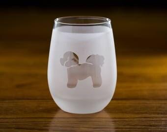 Bichon Frise Stemless Wine Glass Set  | Birthday Gift for Dog Lover | Housewarming Present | Wine Drinker Gift | Customizable Glassware