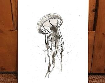 Hand drawn jellyfish print A4