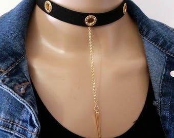 Black Velvet Suede Choker Necklace Gold Pendant, Punk & Gothic Women Choker, Gold 0 Ring Vegan Suede Choker, Thick Women Choker Gold Pendant