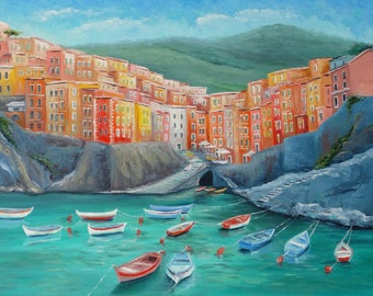 Siesta time in Riomaggiore Cinque Terre Painting Original Oil Painting On Canvas Italy Painting Home Interior Wall Art Canvas Art Painting