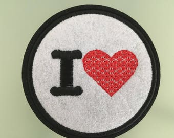 I LOVE  PATCH - Embroideed Iron On Patch - 3""