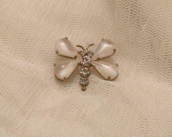 Beautiful Art Deco Moonstone & Rhinestone Dragonfly Pin