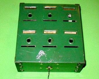 Home Budget Bank by Tudor metal vintage original saving with original key dime bank collectible