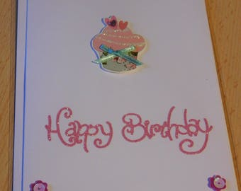 Birthday Card - Cupcake and Flower