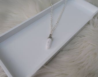 Pegasus - White Marble Pendant Silver Chain Necklace