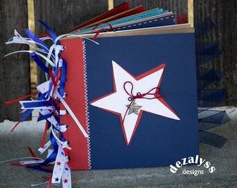 4TH OF JULY, America, Paperbag Album, Mini Scrapbook, Paper Bag Album,  Premade Pages, Independence Day, Mini Album, Patriotic Album