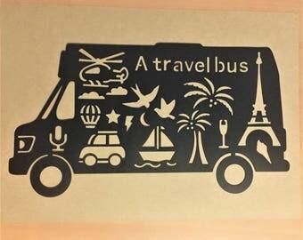 "Travel Bus STENCIL, Holiday-Themed Stencil, Camping Van, Black Plastic, 27.5 x 14.8 cm, 10.8"" x 5.8"", Bullet Journal Stencil, Planner"