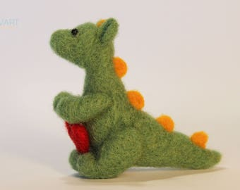 Felted Dragon - Cute Little Dragon Needle Felting with Red Heart - Valentines Day Gift -Home Decor -Dragon miniature - 100% Pure Wool