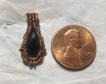 Copper Mini Wire Wrap Pendant with Faceted Black Spinel