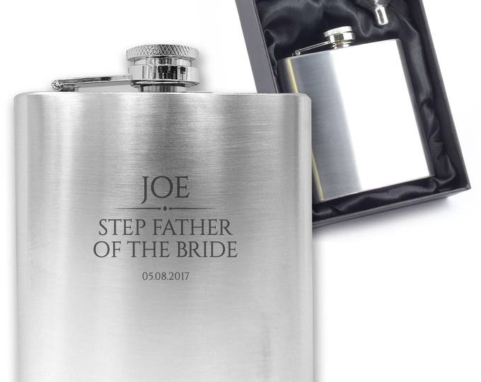 Personalised engraved STEP FATHER of the BRIDE hip flask wedding thank you gift idea, stainless steel presentation box - BR5