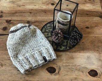 Hand Knit Slouchy Toque Beanie in Cream & Cocoa