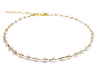 Rainbow Moonstone Choker, Beaded Choker Necklace, Rosary Choker Necklace