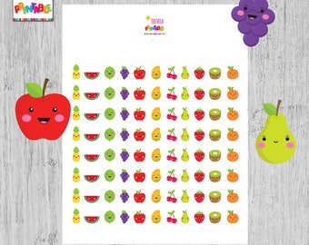 60% OFF FRUITS planner stickers, kawaii fruits, printable stickers, planner accesories, kawaii stickers, cute fruits, food stickers. A013