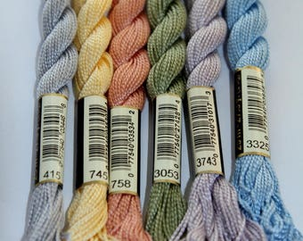Perle cotton n 5 DMC 25 m N 415 skein 3053, 3743, 3325, 758 745 sold individually