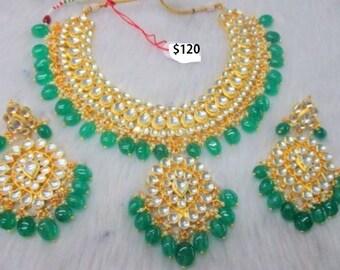 Beautiful Kundan Necklace set in Green