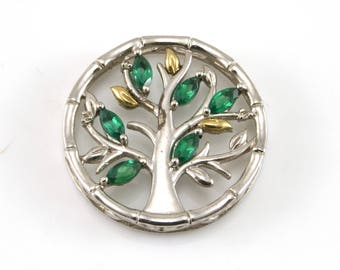 Tree Pendant, Sterling Silver, !0K Gold, Emerald Pendant
