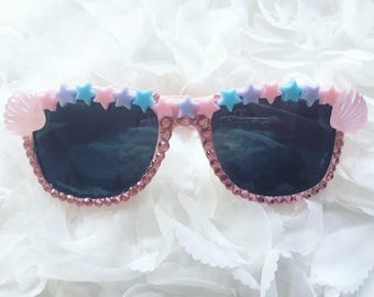 Mermaid Shell Pink Sunglasses - One off premade pair