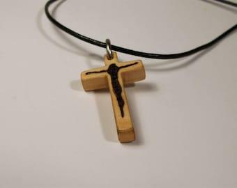 Wooden Cross Necklace, Cross Pendant, Cristian Cross, Jesus Cross, Religious Cross, Christian Gift, Handmade Cross, Cross, Jesus, Pyrography