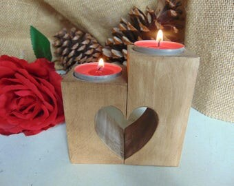 Wooden candle holders,Rustic heart candle holders,Decorative candle holder,Wedding Decorations,Rustic Wedding Decor,Valentine's day gift