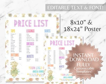 Instant Customizable Gold Pineapple Watercolor Fashion Consultant and LLR Price Sign & Price Poster TEMPLATES