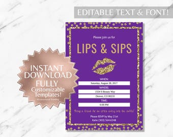 Gold Glitter|Purple|LipSense Party Invitation|Lips and Sips Party Invitation|Makeup Party|LipSense|SeneGence|Distributor|Mary|Kay|Lips Party