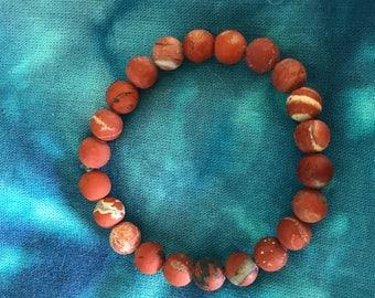 Dark Red Jasper Gemstone Bracelet, With Optional Charms