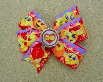 Hair Bow Handmade Emoji Pinwheel