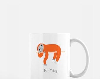 Personalized Sloth Mug, Sloth Coffee Mug, Sloth Mug, Sloth Mugs, Napping Sloth Mug, Sloth Coffee Cup, Sloth Gifts, Sloth Mug (Orange Red)