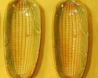 "Vintage 1970's Corn Cob Dishes (2), California Pottery Corn Cob Plate, 9.25"" x 3.5"" Corn on the Cob Holder, Decorative Corn Cob Dish Holder"