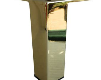 Straight Square Metal Furniture Leg, Sofa Or Cabinet Feet,Polished Brass  Finish, 5