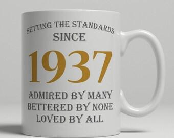 Setting standards, 80th Birthday mug, 80th birthday idea, born 1937 birthday, 80th birthday gift, 80 years old, Happy Birthday, EB 1937 Grey