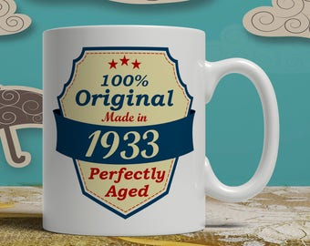 85th Birthday gift born 1933 celebration idea coffee mug 85 years old happy print cup grandparent sign of affection for him or her